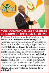 La réaction de l'AIRD, au moment des événements de Béoumi.